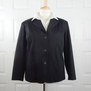 Classic Black Cotton Blazer 14 14W SAKS SALON Z